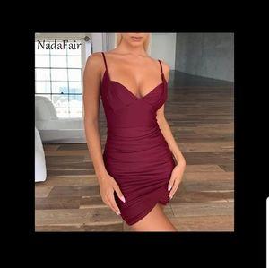 Burgundy bodycon dress